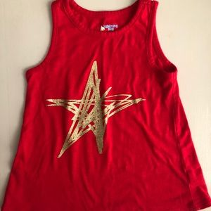 Red Tank Top with Gold Glittery Star